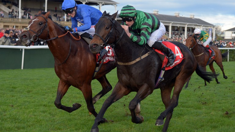 Jack Dexter landing his second Wentworth Stakes at Doncaster a year ago beating Godolphin's Lightning Moon