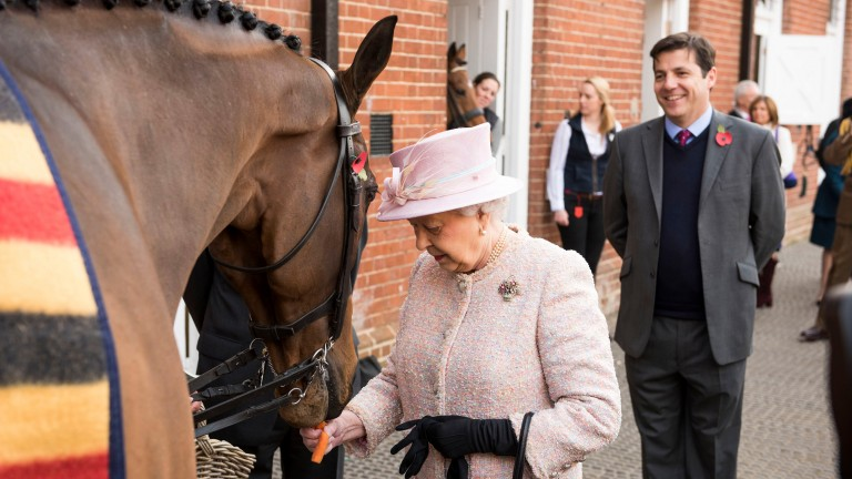The Queen meeting the Nicky Henderson-trained Barbers Shop
