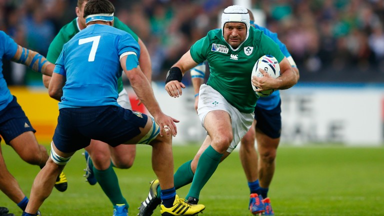 Ireland hooker Rory Best (right) goes on the charge