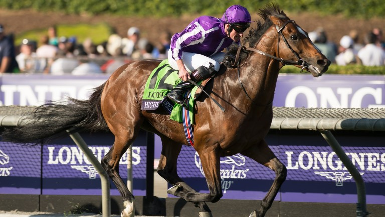 Highland Reel on his way to winning the Breeders' Cup Turf at Santa Anita