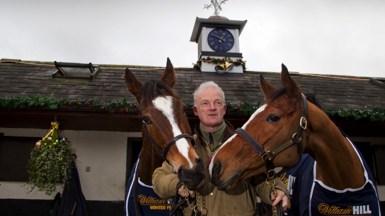 Willie Mullins pictured with his beloved Vautour (left) and 2015 Champion Hurdle winner Faugheen