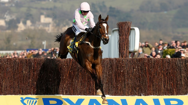 Vautour clears the final fence of the Ryanair chase to score by six lengths from Valseur Lido