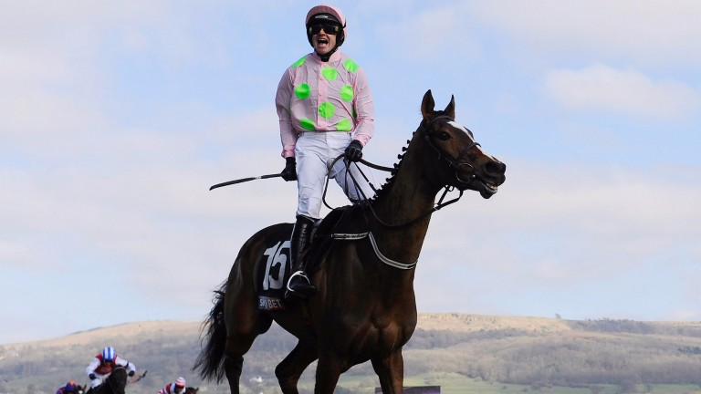 Ruby Walsh celebrates on Vautour after success in the Supreme Novices' Hurdle back in 2013