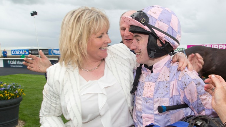 Amanda Mooney, secretary of the new Restricted Trainers Association, celebrates the victory of Repeater, her first winner,  with jockey Killian Leonard at the Curragh in May