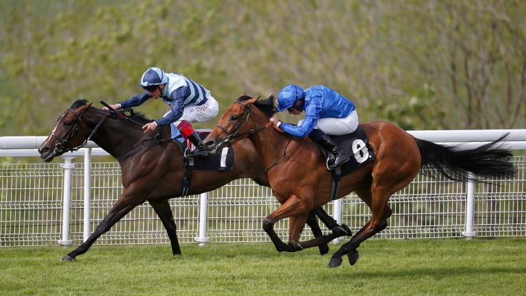 CHICHESTER, ENGLAND - MAY 19:   William Buick riding Skiffle (R) win The Veolia Height Of Fashion Stakes from The Black Princess and Frankie Dettori (L) at Goodwood racecourse on May 19, 2016 in Chichester, England. (Photo by Alan Crowhurst/Getty Images)