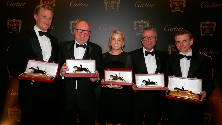 The Coolmore team represented by (from left) Charles Pearson, Christy Grassick, Sam Pearson, Kevin Buckley and Ryan Moore sweep the board