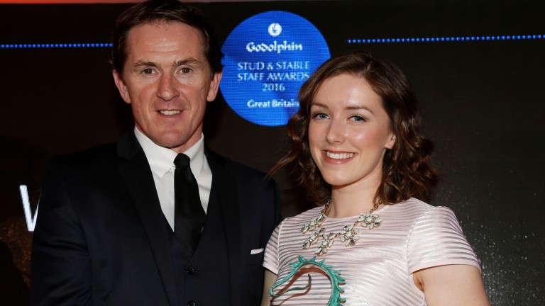 Laura Winstanley received her award from Sir Anthony McCoy