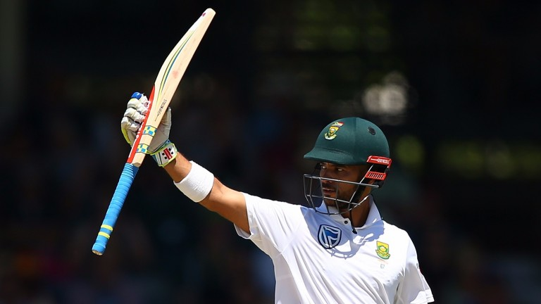 JP Duminy raises his bat after his century for South Africa in Perth