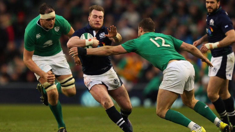 Scotland full-back Stuart Hogg cuts through the defence