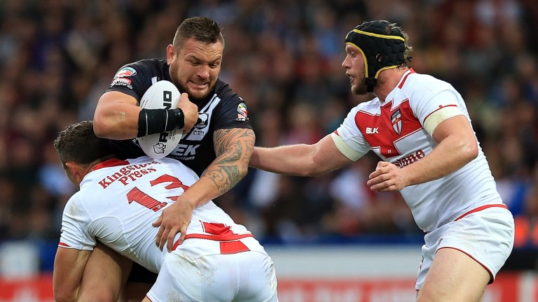 Sam Burgess and Chris Hill get to grips with New Zealand's Jared Waerea-Hargreaves