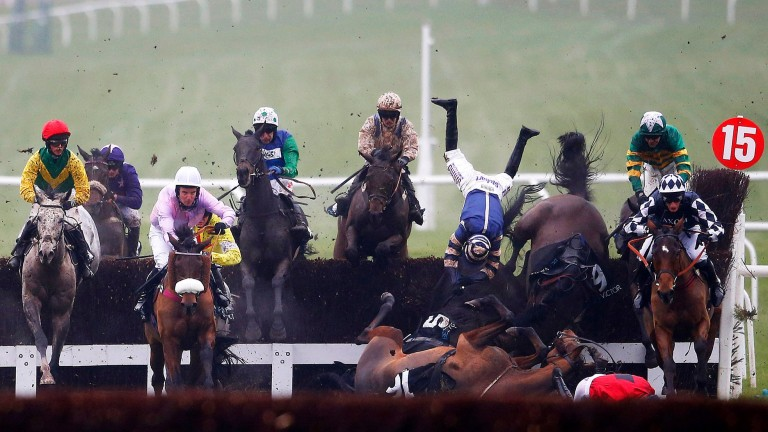 Mayhem ensues during the BetVictor Handicap Chase after Le Reve ran down a fence