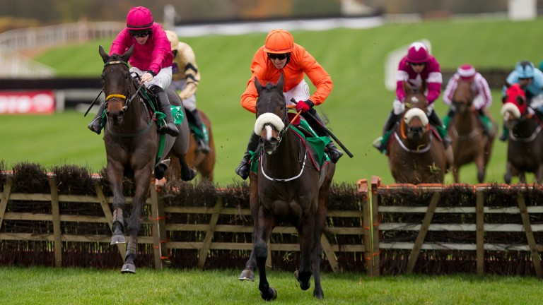 Snow Falcon (Sean Flanagan, left) wins the Lismullen Hurdle from De Plotting Shed