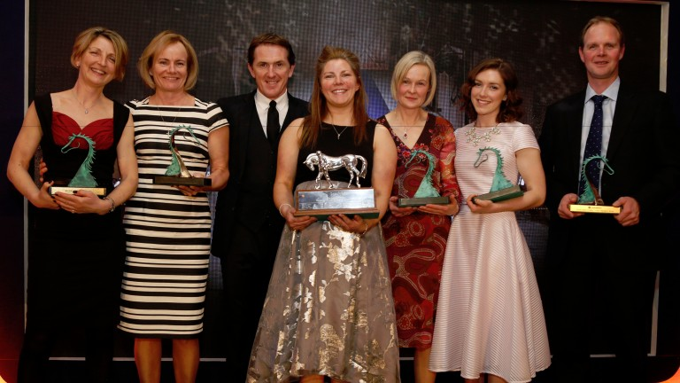 Sir Anthony McCoy with Gemma Hogg winner of Employee of the Year at The Godolphin Stud and Stable Staff Awards and Alyson Deniel ,Lisa Delany, Claire Goodenough , Laura Winstanley and Stuart ThomThe Jumeirah Carlton Tower Hotel 22.2.16Pic Dan Abraham-raci