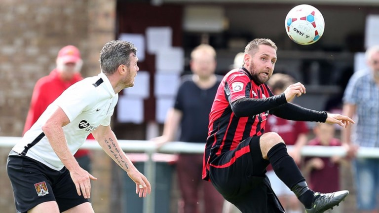 Steve Diggin (right) hit a hat-trick for Brackley on Saturday
