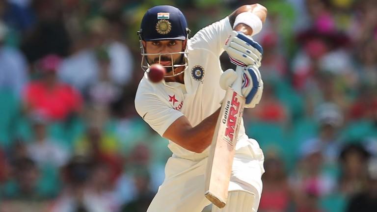 India captain Virat Kohli plays a cover drive