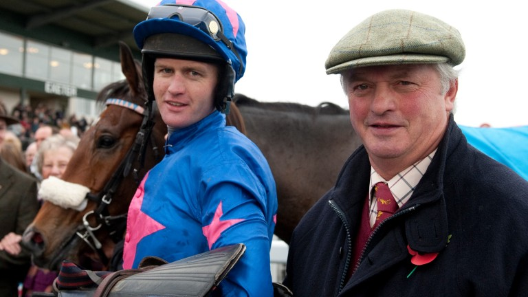 Colin (right) and Joe Tizzard with Cue Card: team tactics wrong at Wetherby but confident of getting it right on Saturday