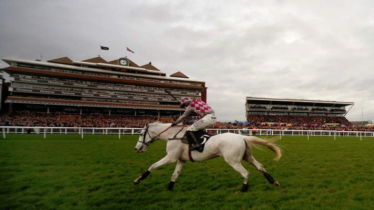 Smad Place gallops to victory under Wayne Hutchinson in the Hennessy Gold Cup - a new sponsor is likely to be needed after Saturday's race