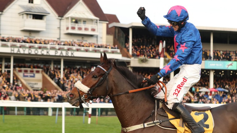 Paddy Brennan celebrates after winning the Betfair Chase on Cue Card