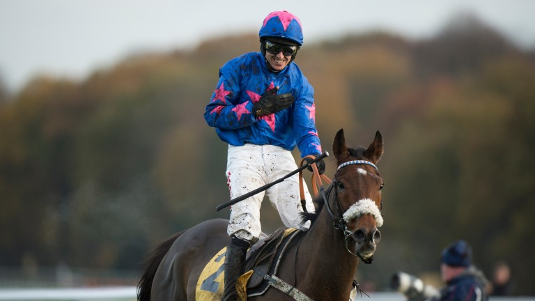 Paddy Brennan celebrates another Betfair Chase victory on Cue Card