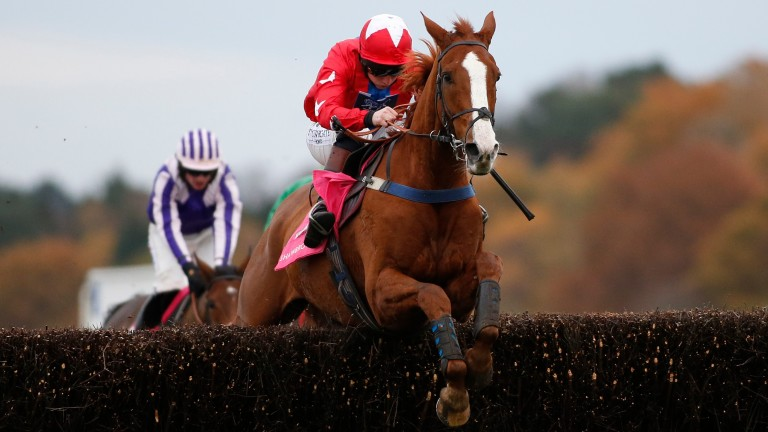 Sire De Grugy and Jamie Moore jump the last clear