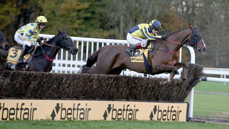 Kruzhlinin stretches out on his way to victory in the Betfair Fixed Brush Hurdle