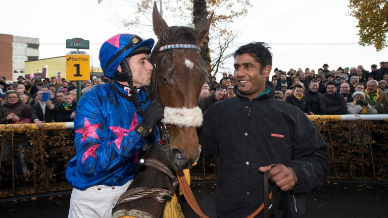 Paddy Brennan cannot hide his affection after Cue Card wins the Betfair Chase