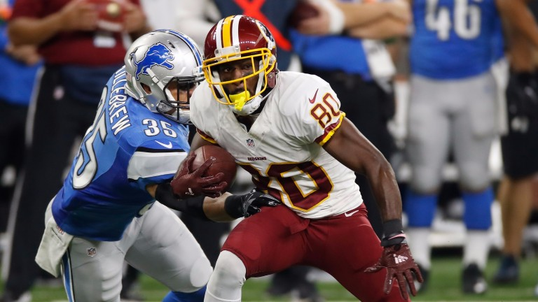 Washington Redskins receiver Jamison Crowder looks for yards