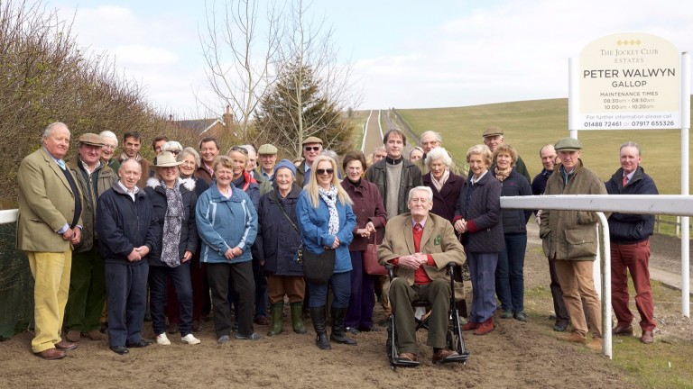 Peter Walwyn (ninth from the right) at the opening of a gallop in Lambourn named in his honour