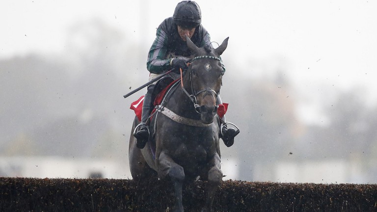 Noel Fehily and Altior meet a fence spot on at Kempton on Monday