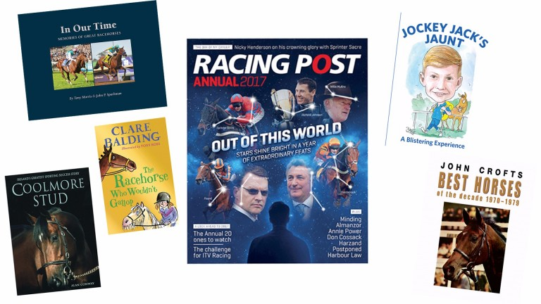 The Racing Post Annual for 2017, lavish selections of top horses by Tony Morris and John Crofts, a history of Coolmore and a children's book by Clare Balding feature in our selection of new books for Christmas