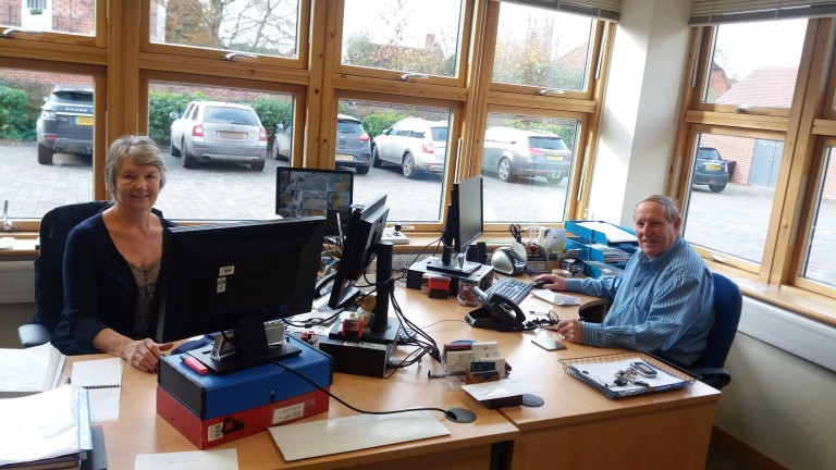 Jackie and John Porter in their office at Oaksey House