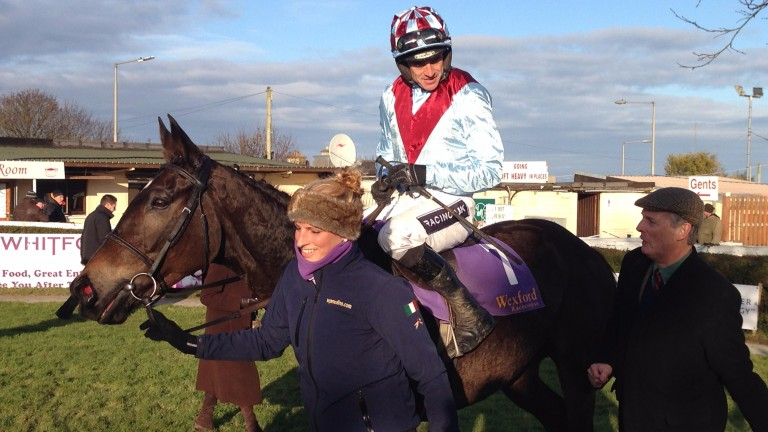 Daisy's Gift and Ruby Walsh after landing the mares beginners chase at Wexford on Tuesday
