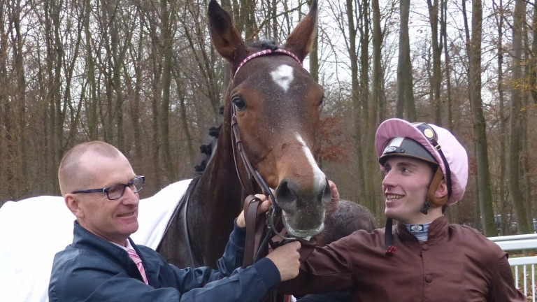 Pierre-Charles Boudot poses with his record-breaking Firouzeh, his 274th winner of the season