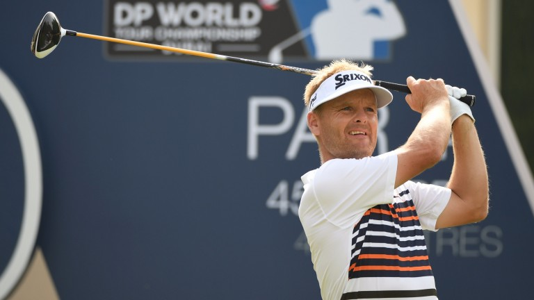 Soren Kjeldsen of Denmark tees off at the DP World Tour Championship