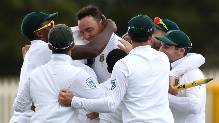 South Africa celebrate after the Second Test