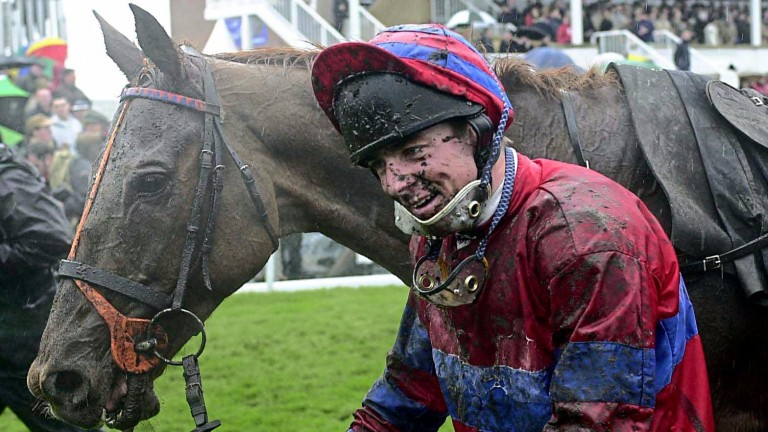 RED MARAUDER and Richard Guest after winning the Grand National at Aintree 7/4/01COPYRIGHT PHOTOGRAPH by JOHN GROSSICK19 Wemyss Rd, Longniddry, East Lothian      Tel.01875852115 Mob.0410461723