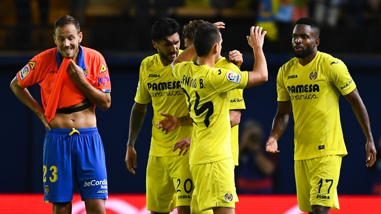 Villarreal celebrate against Las Palmas