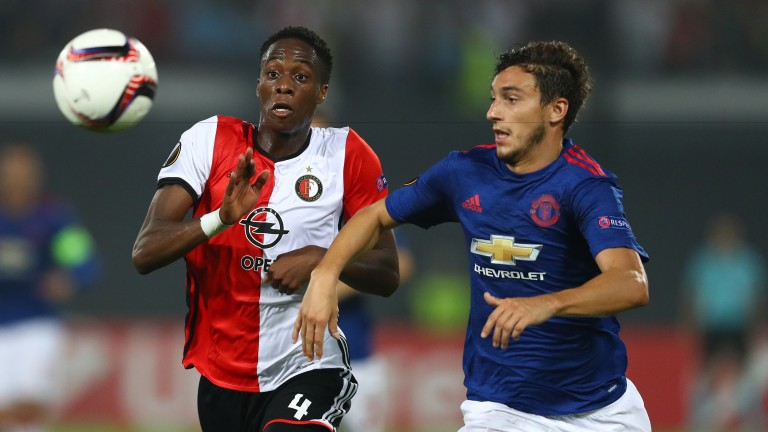 Terence Kongolo of Feyenoord and Matteo Darmian of Man United