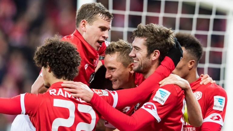 Stefan Bell of Mainz celebrates a goal
