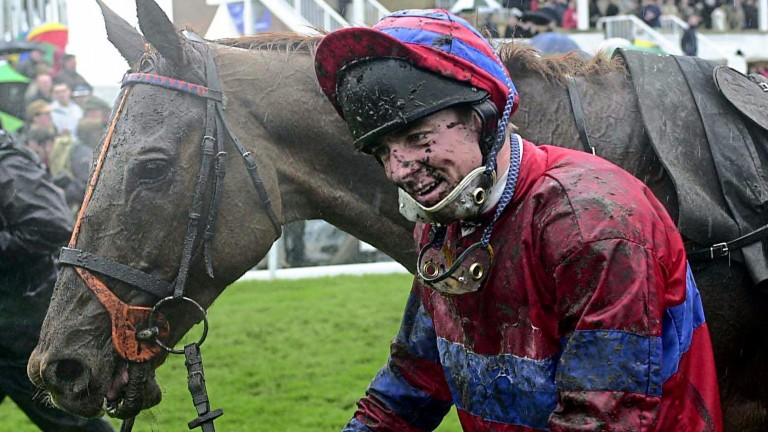 Muddy marvels: Red Marauder and Richard Guest after their slog through the Aintree mud