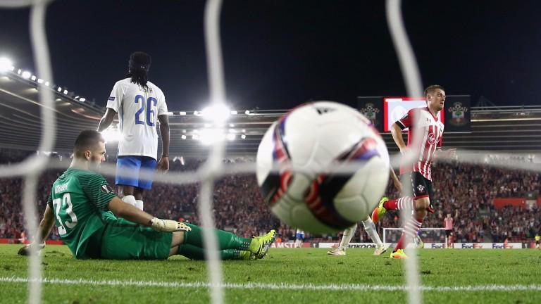 Southampton's Jay Rodriguez scores against Sparta