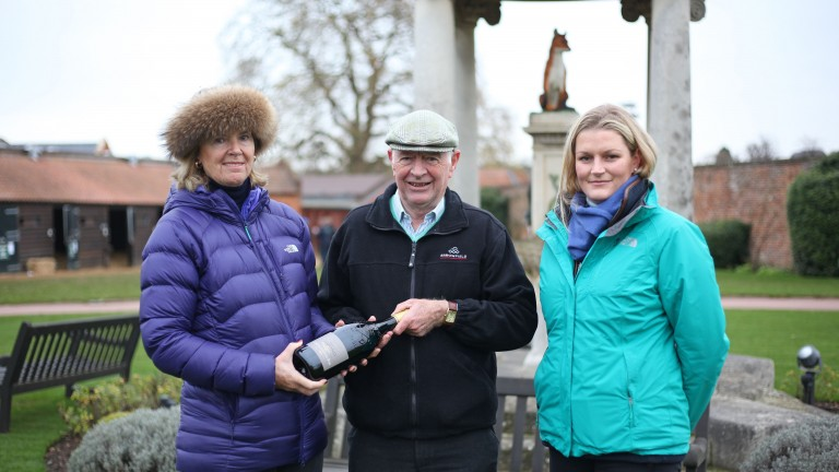Amanda Skiffington (left) with Geoffrey Howson and her assistant Philippa Mains
