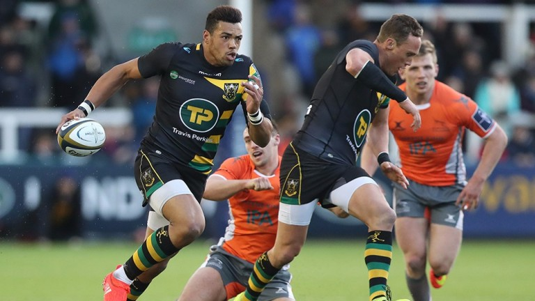Luther Burrell (left) stretches Newcastle in their cup clash