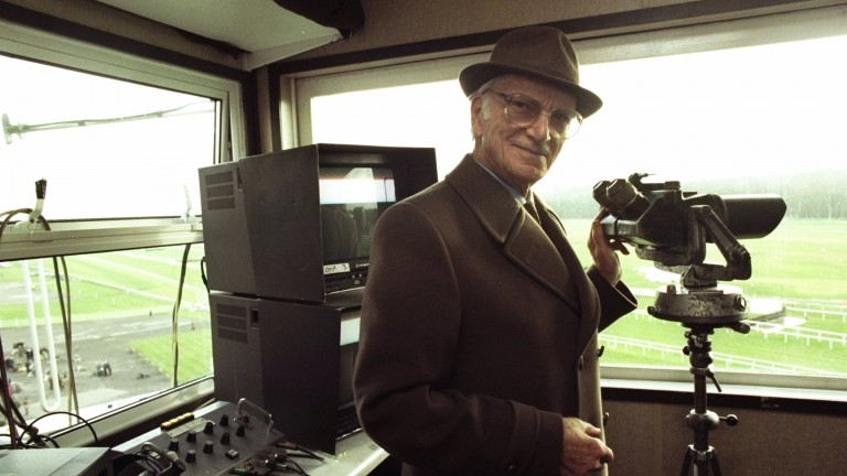 Sir Peter O'Sullevan in the Newbury commentary box on Hennessy day 1997, his final day behind the microphone