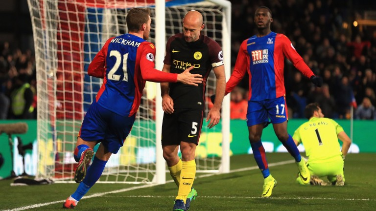 Crystal Palace celebrate their goal in defeat to City last Saturday