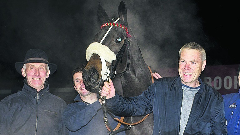 Trainer Tom Cleary (left) and owner Gerard Murphy (right) with Super Focus