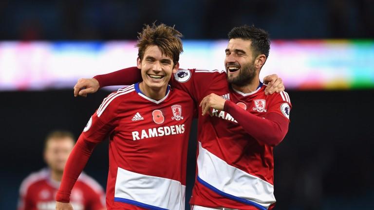 Middlesbrough's Marten de Roon and Antonio Barragan