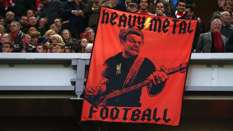 Liverpool fans with a Jurgen Klopp flag