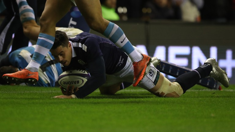 Sean Maitland scores the Scotland try against Argentina