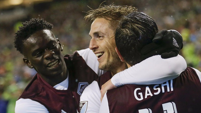 Kevin Doyle (centre) of Colorado scored in the first leg of the Western Conference final